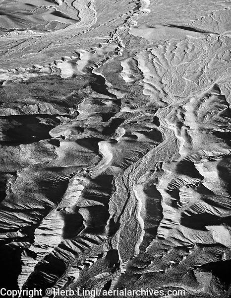 aerial photograph of erosion, Death Valley National Park, northern Mojave Desert, California