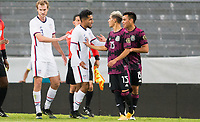 GUADALAJARA, MEXICO - MARCH 24: Jesus Ferreira #9 of the United States and Uriel Antuna #15 of Mexico exchange words with one another during a game between Mexico and USMNT U-23 at Estadio Jalisco on March 24, 2021 in Guadalajara, Mexico.