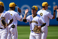 Bradenton Marauders outfielder Sammy Siani (25) high fives teammates after a game against the Palm Beach Cardinals on May 30, 2021 at LECOM Park in Bradenton, Florida.  (Mike Janes/Four Seam Images)