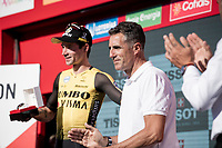 Former great Miguel Indurain (ESP) congratulating stage winner and new overall leader Primoz Roglic (SVK/Jumbo-Visma) on the podium<br /> <br /> stage 10 (ITT): Jurançon to Pau (36.2km > in FRANCE)<br /> La Vuelta 2019<br /> <br /> ©kramon