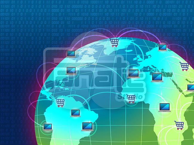 Concept of global e-commerce - online shopping