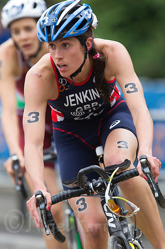 31 MAY 2014 - LONDON, GBR - Helen Jenkins (GBR) (WAL) of Great Britain and Wales takes a corner during the bike at the 2014 ITU World Triathlon Series round in Hyde Park in London, Great Britain (PHOTO COPYRIGHT © 2014 NIGEL FARROW, ALL RIGHTS RESERVED)