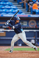 Charlotte Stone Crabs catcher David Rodriguez (13) at bat during the first game of a doubleheader against the St. Lucie Mets on April 24, 2018 at First Data Field in Port St. Lucie, Florida.  St. Lucie defeated Charlotte 5-3.  (Mike Janes/Four Seam Images)