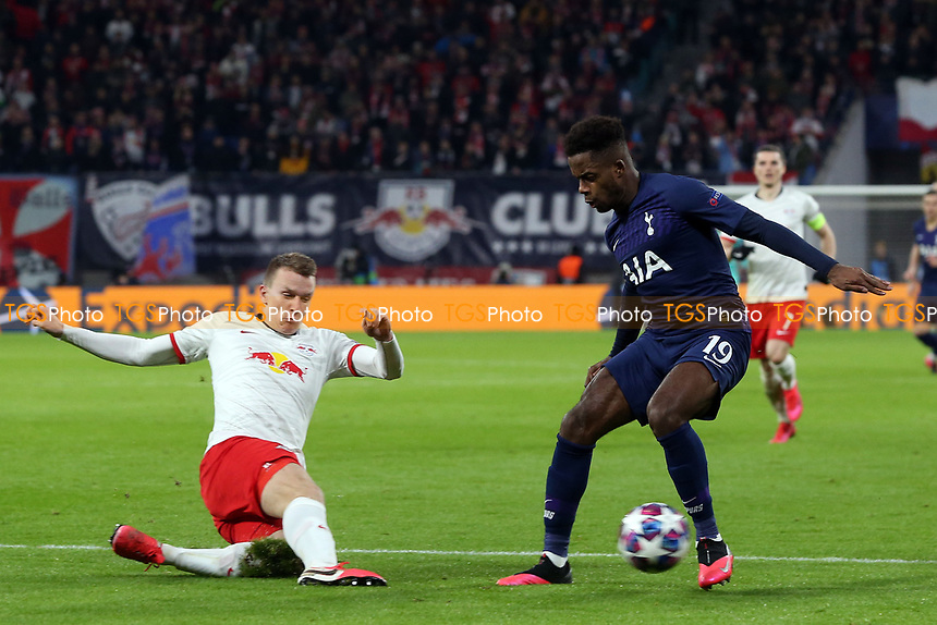 Ryan Sessegnon of Tottenham Hotspur and Lukas Klostermann of RB Leipzig during RB Leipzig vs Tottenham Hotspur, UEFA Champions League Football at the Red Bull Arena on 10th March 2020