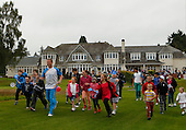 The Captains of Blairgowrie Golf Club, host of the 2014 Junior Ryder Cup welcome Baton bearer and Junior Ryder Cup Captain, Stuart Wilson as part of the Glasgow 2014 Queens Baton Relay ahead of the Commonwealth Games which are being held in Glasgow from : Picture Stuart Adams www.golftourimages.com: 4th July 2014
