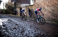 Dutch Road Champion Mathieu Van der Poel (NED/Alpecin-Fenix) over the roughest (and slippery) cobbled section<br /> <br /> 53rd Le Samyn 2021<br /> ME (1.1)<br /> 1 day race from Quaregnon to Dour (BEL/205km)<br /> <br /> ©kramon