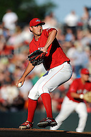 Pitcher Reed Reilly (33) of the Greenville Drive delivers a pitch in a game against the Charleston RiverDogs on Saturday, May 23, 2015, at Fluor Field at the West End in Greenville, South Carolina. Charleston won 5-4. (Tom Priddy/Four Seam Images)