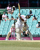11th January 2021; Sydney Cricket Ground, Sydney, New South Wales, Australia; International Test Cricket, Third Test Day Five, Australia versus India; Cheteshwar Pujara of India hits for six runs