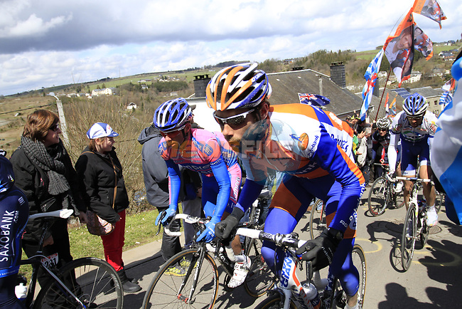 The peloton including Laurens Ten Dam (NED) Rabobank  climb Cote de Saint-Roch during the 98th edition of Liege-Bastogne-Liege, running 257.5km from Liege to Ans, Belgium. 22nd April 2012.  <br /> (Photo by Eoin Clarke/NEWSFILE).