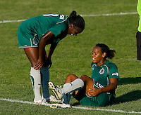 Saint Louis Athletica defender Tina Ellertson (8) and Athletica defender Kia McNeill (6) during a WPS match at Anheuser-Busch Soccer Park, in St. Louis, MO, July 26, 2009.  The match ended in a 1-1 tie.