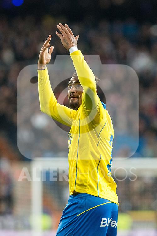 Prince Boateng of UD Las Palmas celebrates after scoring a goal  during the match of Spanish La Liga between Real Madrid and UD Las Palmas at  Santiago Bernabeu Stadium in Madrid, Spain. March 01, 2017. (ALTERPHOTOS / Rodrigo Jimenez)