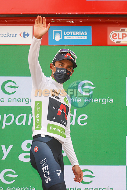 Egan Bernal (COL) Ineos Grenadiers retains the young riders White Jersey at the end of Stage 10 of La Vuelta d'Espana 2021, running 189km from Roquetas de Mar to Rincón de la Victoria, Spain. 24th August 2021.     <br /> Picture: Luis Angel Gomez/Photogomezsport | Cyclefile<br /> <br /> All photos usage must carry mandatory copyright credit (© Cyclefile | Luis Angel Gomez/Photogomezsport)