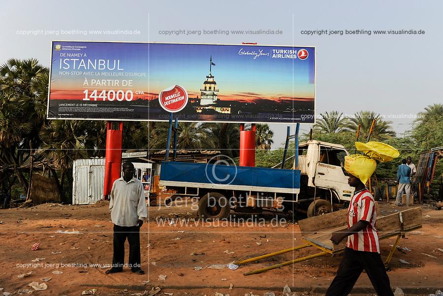 NIGER Niamey, turkish influence in africa, billboard for turkish airlines
