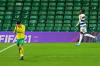 29th December 2020; Carrow Road, Norwich, Norfolk, England, English Football League Championship Football, Norwich versus Queens Park Rangers; Bright Osayi-Samuel of Queens Park Rangers celebrates after he scores from the penalty spot for 1-1 in the 84th minute