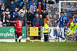 St Johnstone v Rangers…22.09.19   McDiarmid Park   SPFL<br />Jermaine Defoe scores his first goal<br />Picture by Graeme Hart.<br />Copyright Perthshire Picture Agency<br />Tel: 01738 623350  Mobile: 07990 594431