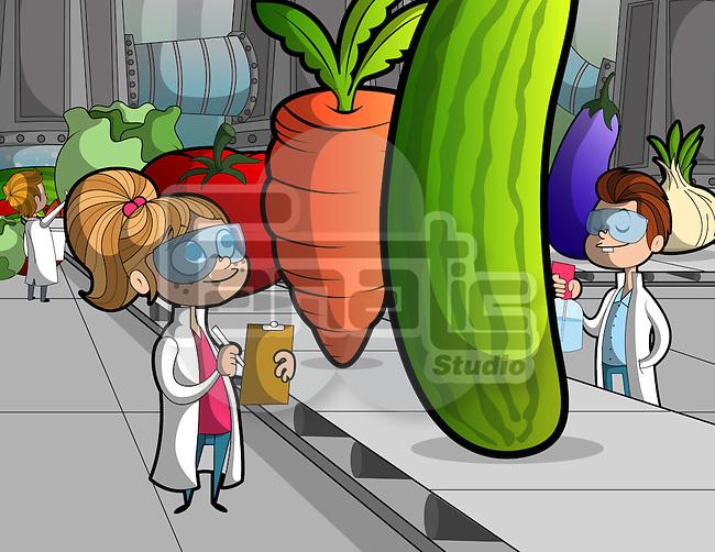 Illustration of children researching on vegetables on conveyor belt at school laboratory