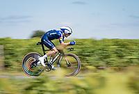 Julian Alaphilippe (FRA/Deceuninck - QuickStep)<br /> <br /> Stage 20 (ITT) from Libourne to Saint-Émilion (30.8km)<br /> 108th Tour de France 2021 (2.UWT)<br /> <br /> ©kramon