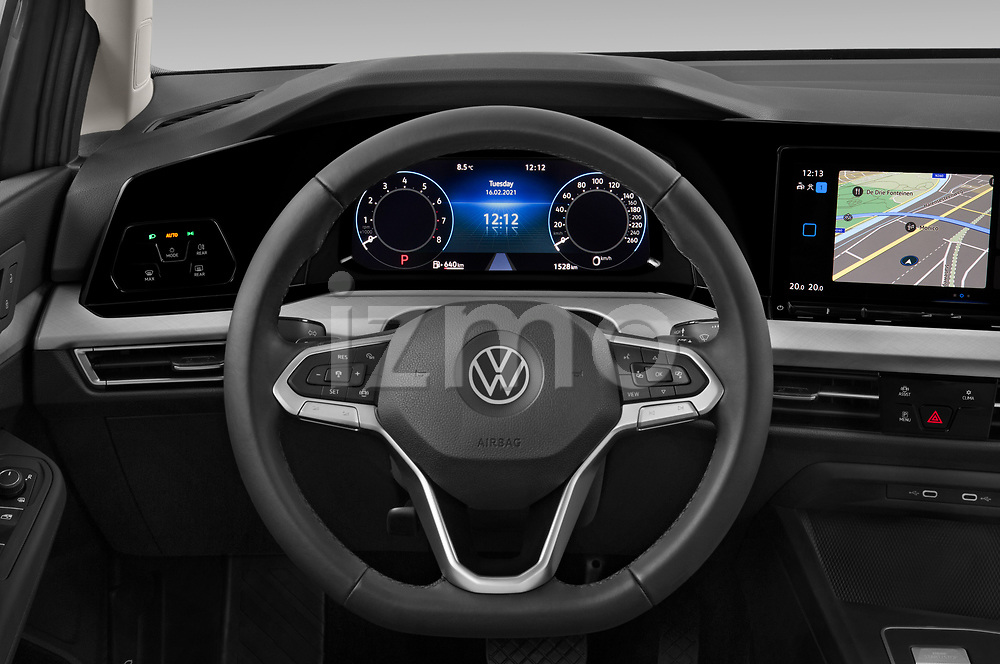 Car pictures of steering wheel view of a 2021 Volkswagen Golf-Variant Life-HEV 5 Door Wagon Steering Wheel