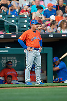 Syracuse Mets manager Tony DeFrancesco (11) during an International League game against the Buffalo Bisons on June 29, 2019 at Sahlen Field in Buffalo, New York.  Buffalo defeated Syracuse 9-3.  (Mike Janes/Four Seam Images)