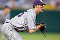 TCU's Jantzen Witte in Game 6 of the NCAA Division One Men's College World Series on Monday June 21st, 2010 at Johnny Rosenblatt Stadium in Omaha, Nebraska.  (Photo by Andrew Woolley / Four Seam Images)