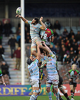 Antoine Battut of Racing Metro 92 competes against Nick Kennedy of Harlequins in the lineout during the Heineken Cup match between Harlequins and Racing Metro 92 at the Twickenham Stoop on Sunday 15th December 2013 (Photo by Rob Munro)