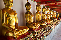 Bangkok, Thailand.  Buddhas in the South Pavilion, Wat Pho (Reclining Buddha) Temple Complex.