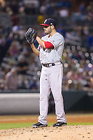 Pawtucket Red Sox relief pitcher Chris Hernandez (35) looks to his catcher for the sign against the Charlotte Knights at BB&T Ballpark on August 9, 2014 in Charlotte, North Carolina.  The Red Sox defeated the Knights  5-2.  (Brian Westerholt/Four Seam Images)