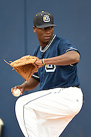Lake County Captains pitcher Carlos Melo (46) throws a bullpen during practice before a game against the Dayton Dragons on June 8, 2014 at Classic Park in Eastlake, Ohio.  Lake County defeated Dayton 4-2.  (Mike Janes/Four Seam Images)