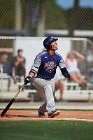 Chase Davis during the WWBA World Championship at the Roger Dean Complex on October 18, 2018 in Jupiter, Florida.  Chase Davis is an outfielder from Elk Grove, California who attends Franklin High School and is committed to Arizona.  (Mike Janes/Four Seam Images)