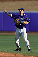 Second baseman Sims Griffith (1) of the Furman Paladins throws out a runner in game two of a doubleheader against the Harvard Crimson on Friday, March 16, 2018, at Latham Baseball Stadium on the Furman University campus in Greenville, South Carolina. Furman won, 7-6. (Tom Priddy/Four Seam Images)