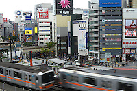 Toyoko train passes through Shibuya city, Tokyo.<br /> April-2010