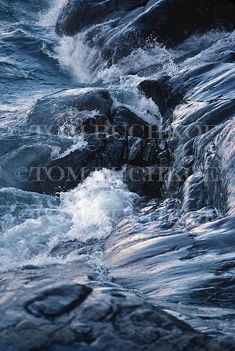 Lake Superior shoreline waves.