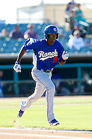 Darnell Sweeney #9 of the Rancho Cucamonga Quakes runs to first base during a game against the Lancaster JetHawks at The Hanger on August 25, 2013 in Lancaster, California. Lancaster defeated Rancho Cucamonga, 7-1. (Larry Goren/Four Seam Images)