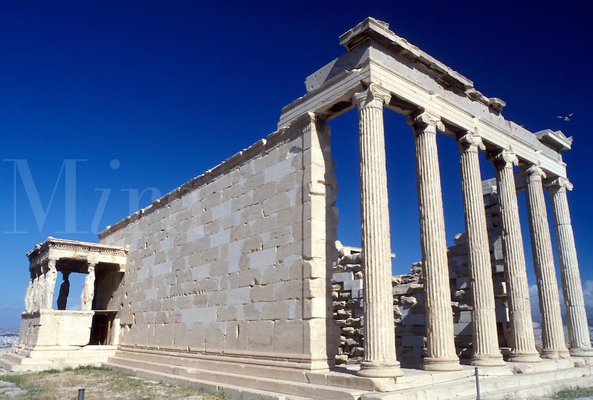 Athens, Greece, Europe, Erechtheion temple at the Acropolis.