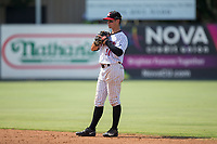 Kannapolis Intimidators second baseman Mitch Roman (10) on defense against the Hagerstown Suns at Kannapolis Intimidators Stadium on July 9, 2017 in Kannapolis, North Carolina.  The Intimidators defeated the Suns 3-2 in game one of a double-header.  (Brian Westerholt/Four Seam Images)