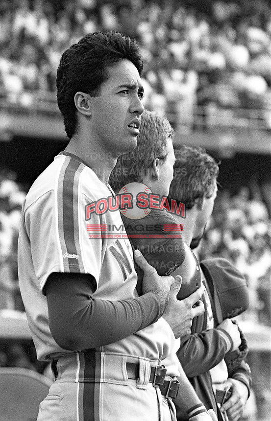 Ron Darling of the New York Mets during a 1989 season game at Dodger  Stadium in Los Angeles,California.(Larry Goren/Four Seam Images)