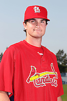 Batavia Muckdogs pitcher John Gast poses for a photo in a Cardinals uniform before a game vs. the State College Spikes at Dwyer Stadium in Batavia, New York July 17, 2010.   Batavia defeated State College 12-11 in 11 innings.  Photo By Mike Janes/Four Seam Images