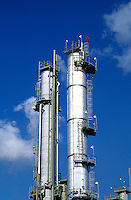 A distillation tower at a petrochemical refinery.