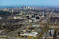 aerial photograph of Greenway/Upper Kirby east along interstate I-69 toward downtown Houston, Texas