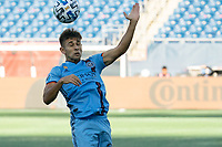 FOXBOROUGH, MA - SEPTEMBER 19: Nicolas Acevedo #26 of New York City FC heads a high ball during a game between New York City FC and New England Revolution at Gillette on September 19, 2020 in Foxborough, Massachusetts.