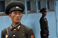 North Korean soldiers guard the demilitarized zone (DMZ) at Panmunjom, North Korea.