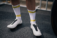 personalised socks indicating 2 overall Tour team wins for Christian Knees (DEU/SKY) at the last stage start of the 104th Tour de France 2017 in Montgeron<br /> <br /> Stage 21 - Montgeron › Paris (105km)