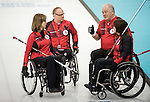 Sochi, RUSSIA - Mar 10 2014 -  Sonja Gaudet, Dennis Thiessen, Ina Forrest and Jim Armstrong during Canada vs Norway in Wheelchair Curling round robin play at the 2014 Paralympic Winter Games in Sochi, Russia.  (Photo: Matthew Murnaghan/Canadian Paralympic Committee)