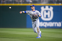 Durham Bulls second baseman Daniel Robertson (28) makes a throw to first base from shallow right field during the game against the Charlotte Knights at BB&T BallPark on April 14, 2016 in Charlotte, North Carolina.  The Bulls defeated the Knights 2-0.  (Brian Westerholt/Four Seam Images)