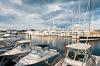 Power boats and yachts in Newport harbor marina, RI, Rhode Island, USA