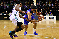 Dion Prewster of the Wellington Saints dribbles the ball during the NBL match between the Wellington Saints and the Auckland Huskies at TSB Bank Arena, Wellington, New Zealand on Friday 28 May 2021.<br /> Photo by Masanori Udagawa. <br /> www.photowellington.photoshelter.com