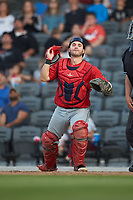 Salem Red Sox catcher Nick Sciortino (20) on defense against the Fayetteville Woodpeckers at Segra Stadium on May 15, 2019 in Fayetteville, North Carolina. The Woodpeckers defeated the Red Sox 6-2. (Brian Westerholt/Four Seam Images)