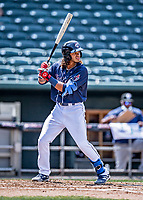 6 June 2021: New Hampshire Fisher Cats infielder Austin Martin at bat against the Binghamton Rumble Ponies at Northeast Delta Dental Stadium in Manchester, NH. The Rumble Ponies defeated the Fisher Cats 9-6 to close out their 6-game series. Mandatory Credit: Ed Wolfstein Photo *** RAW (NEF) Image File Available ***