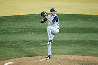 West Virginia Mountaineers relief pitcher Ryan McDonald (16) in action against the Wake Forest Demon Deacons in Game Six of the Winston-Salem Regional in the 2017 College World Series at David F. Couch Ballpark on June 4, 2017 in Winston-Salem, North Carolina. The Demon Deacons defeated the Mountaineers 12-8. (Brian Westerholt/Four Seam Images)