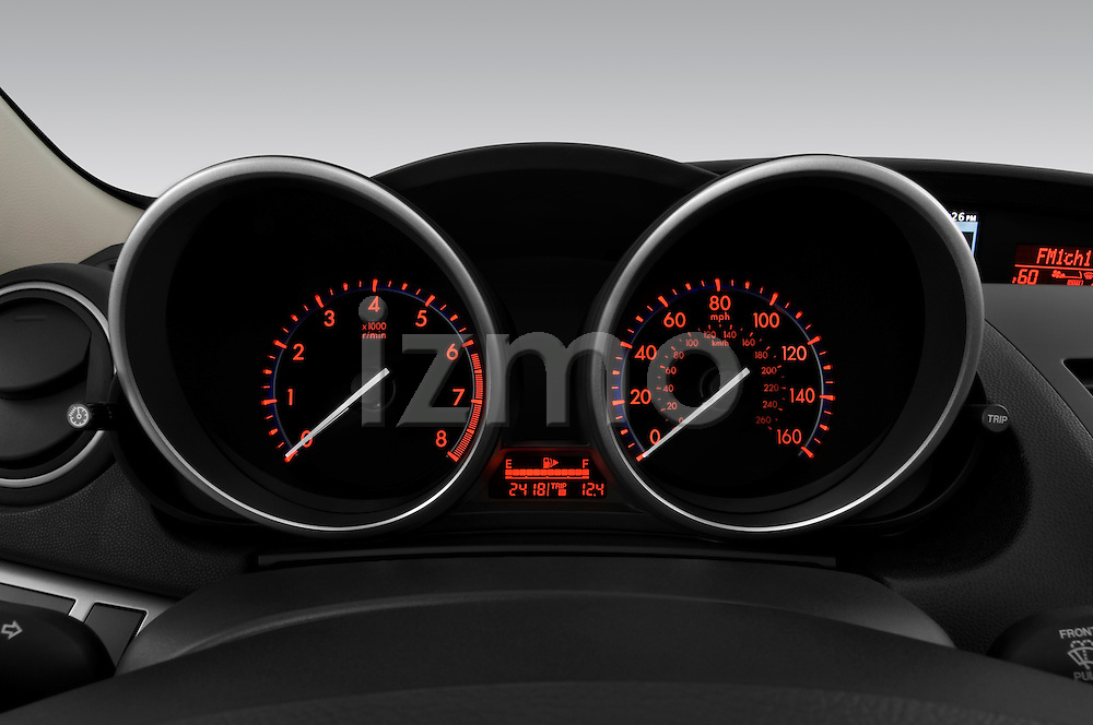 Instrument panel close up detail view of a 2010 Mazda 3 5-Door S Grand Touring